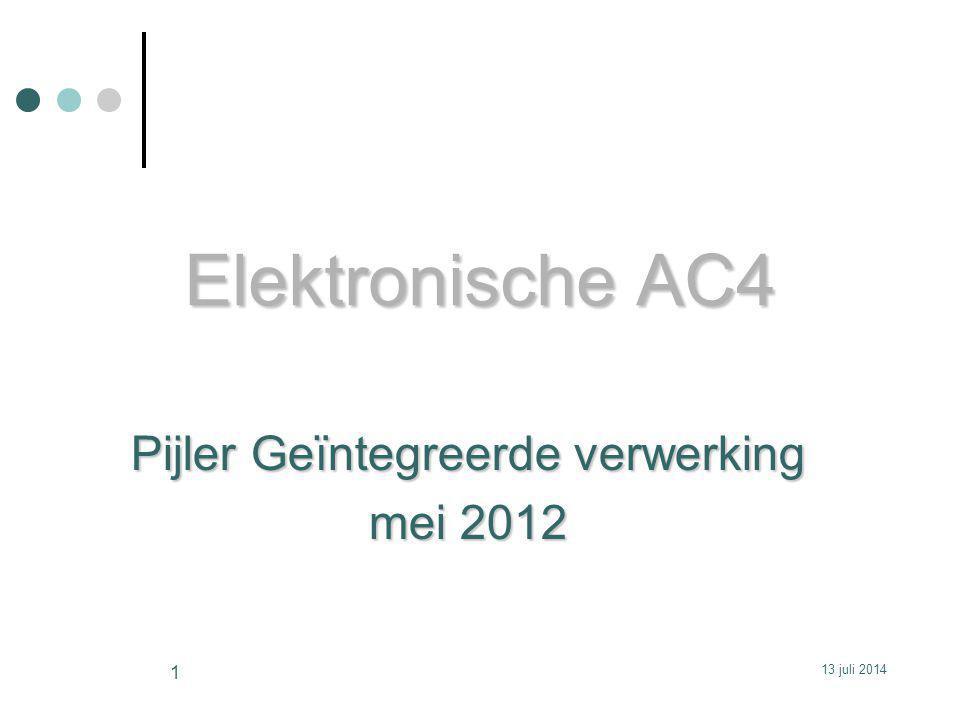 Elektronische AC4 Pijler Geïntegreerde verwerking mei 2012 13 juli 2014 1