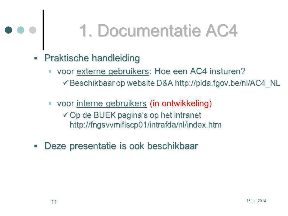 1.Documentatie AC4  Praktische handleiding  voor externe gebruikers: Hoe een AC4 insturen.