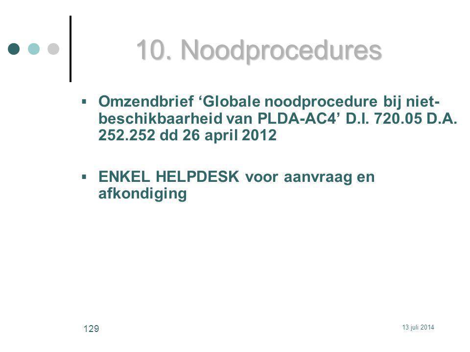 10. Noodprocedures  Omzendbrief 'Globale noodprocedure bij niet- beschikbaarheid van PLDA-AC4' D.I. 720.05 D.A. 252.252 dd 26 april 2012  ENKEL HELP