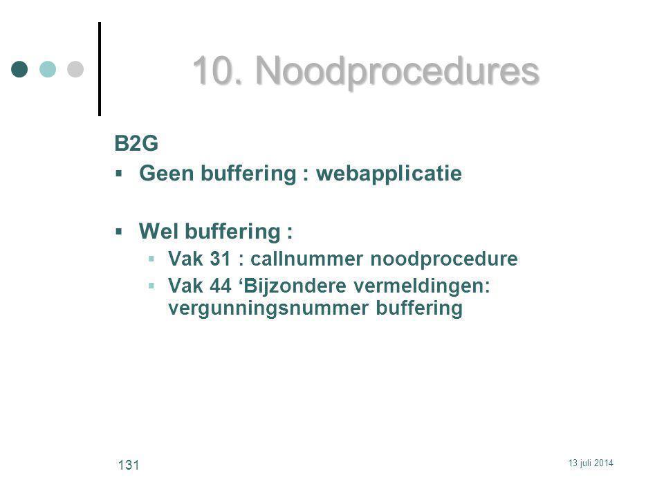 10. Noodprocedures B2G  Geen buffering : webapplicatie  Wel buffering :  Vak 31 : callnummer noodprocedure  Vak 44 'Bijzondere vermeldingen: vergu