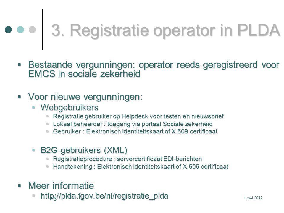 3. Registratie operator in PLDA  Bestaande vergunningen: operator reeds geregistreerd voor EMCS in sociale zekerheid  Voor nieuwe vergunningen:  We