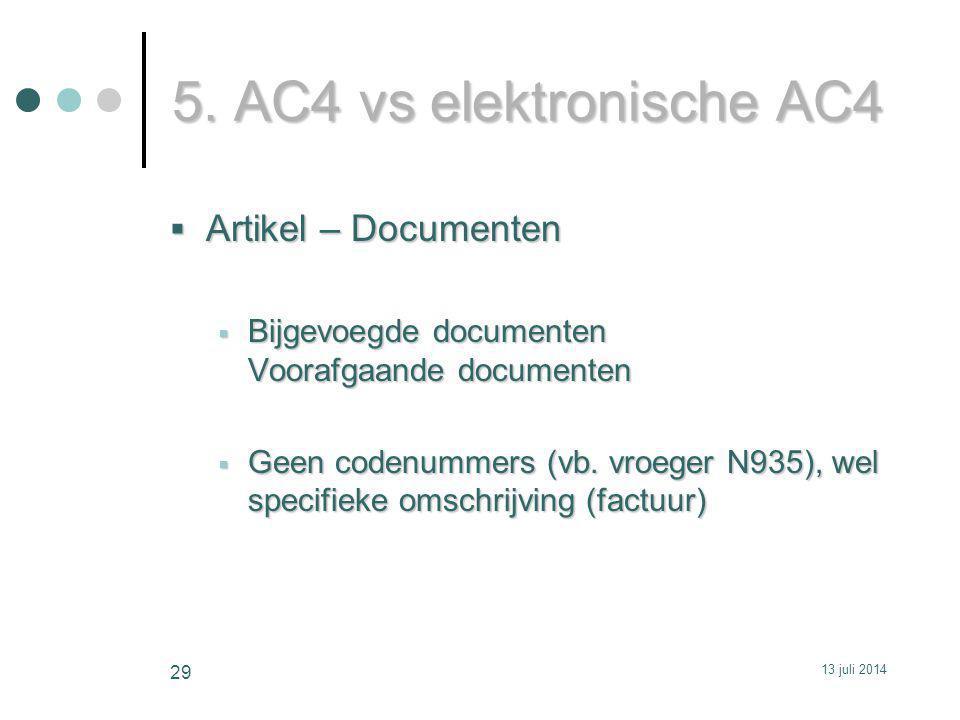 5. AC4 vs elektronische AC4  Artikel – Documenten  Bijgevoegde documenten Voorafgaande documenten  Geen codenummers (vb. vroeger N935), wel specifi