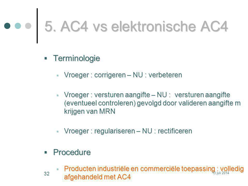 5. AC4 vs elektronische AC4  Terminologie  Vroeger : corrigeren – NU : verbeteren  Vroeger : versturen aangifte – NU : versturen aangifte (eventuee
