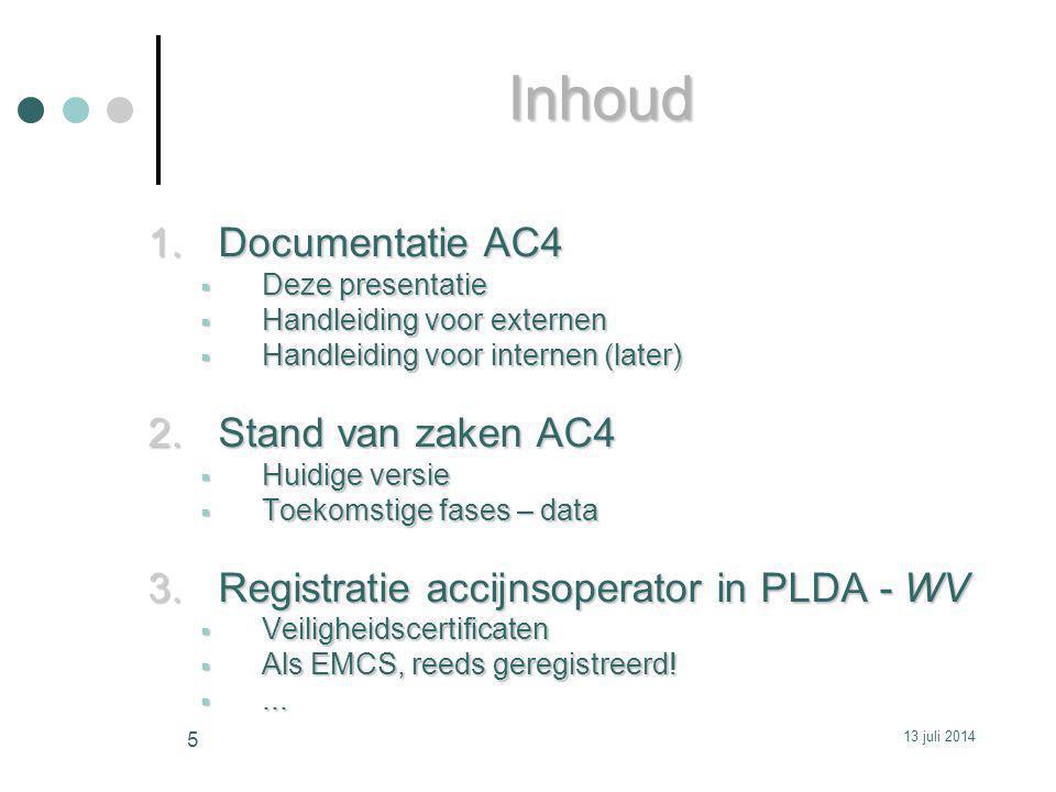 1.Documentatie AC4  Deze presentatie  Handleiding voor externen  Handleiding voor internen (later) 2.Stand van zaken AC4  Huidige versie  Toekomstige fases – data 3.Registratie accijnsoperator in PLDA - WV  Veiligheidscertificaten  Als EMCS, reeds geregistreerd.