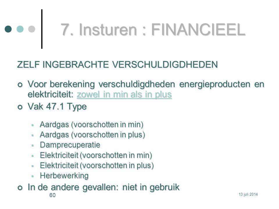 7. Insturen : FINANCIEEL ZELF INGEBRACHTE VERSCHULDIGDHEDEN Voor berekening verschuldigdheden energieproducten en elektriciteit: zowel in min als in p