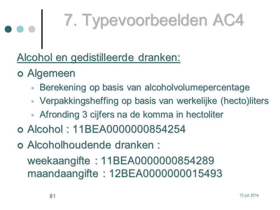 7. Typevoorbeelden AC4 Alcohol en gedistilleerde dranken: Algemeen  Berekening op basis van alcoholvolumepercentage  Verpakkingsheffing op basis van