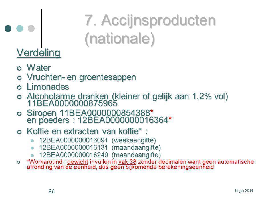 7. Accijnsproducten (nationale) VerdelingWater Vruchten- en groentesappen Limonades Alcoholarme dranken (kleiner of gelijk aan 1,2% vol) 11BEA00000008