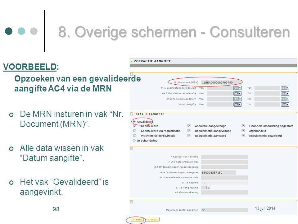 De MRN insturen in vak Nr.Document (MRN) . Alle data wissen in vak Datum aangifte .