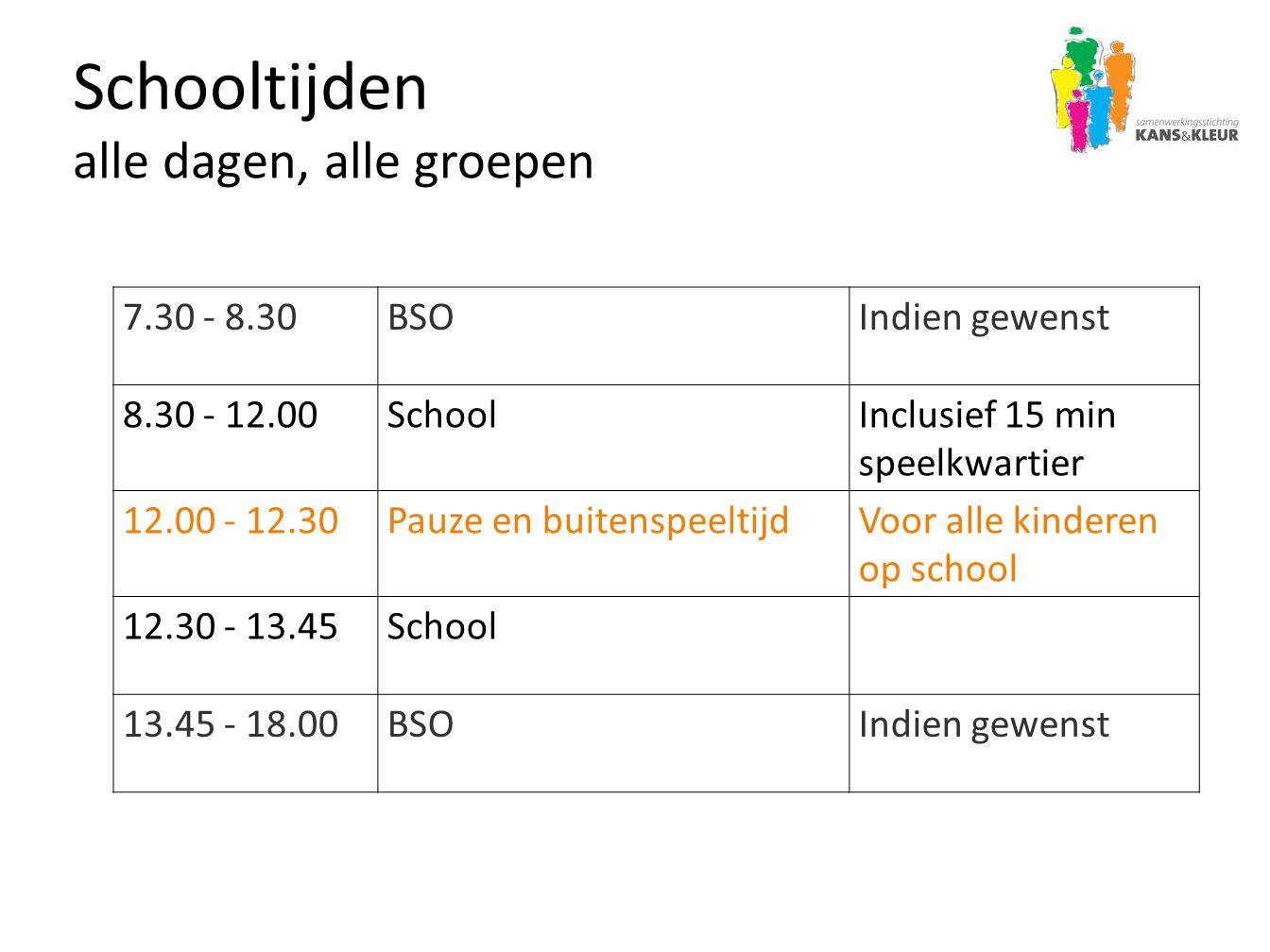 Schooltijden alle dagen, alle groepen 7.30 - 8.30BSOIndien gewenst 8.30 - 12.00SchoolInclusief 15 min speelkwartier 12.00 - 12.30Pauze en buitenspeelt