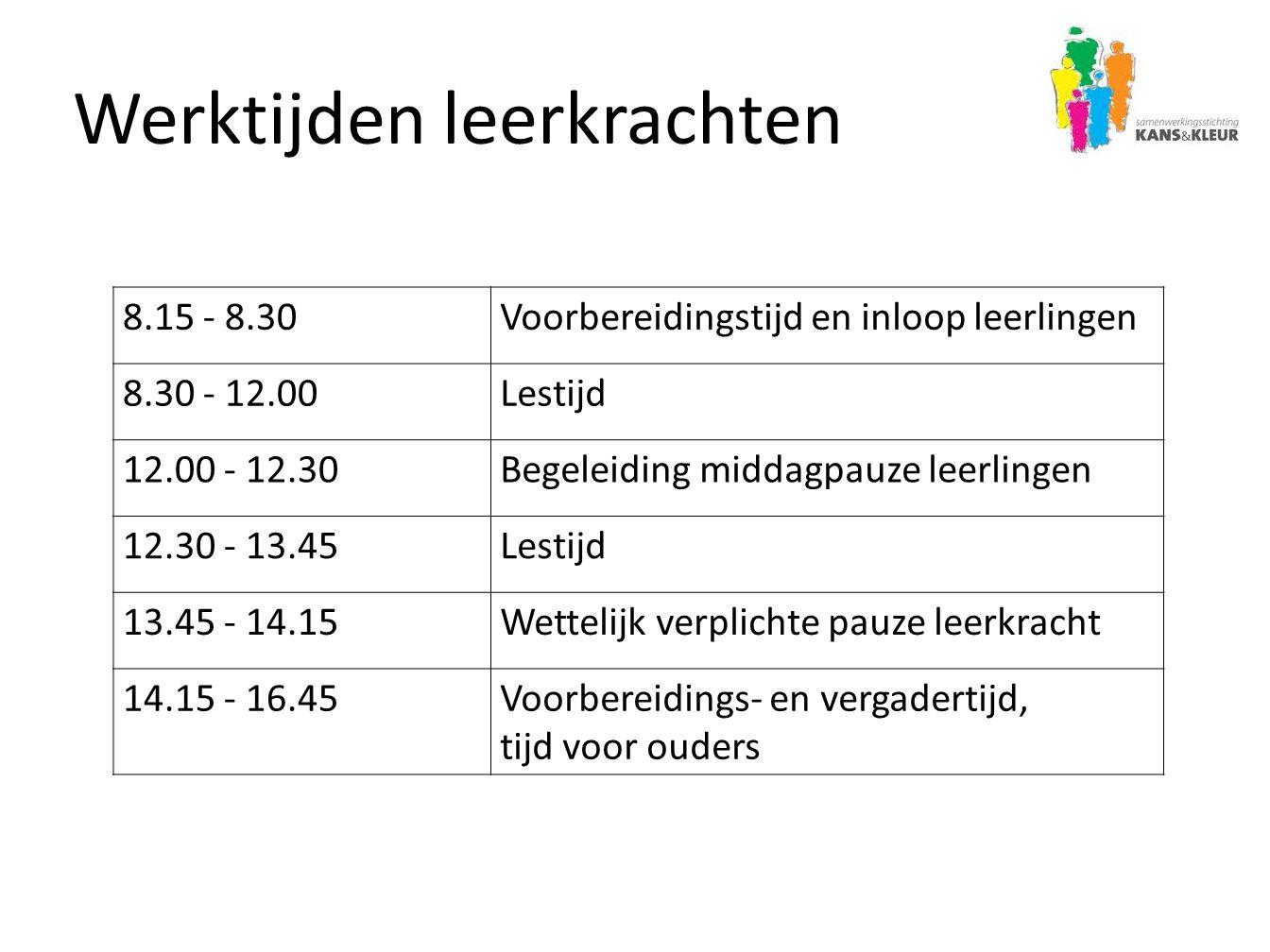 Werktijden leerkrachten 8.15 - 8.30Voorbereidingstijd en inloop leerlingen 8.30 - 12.00Lestijd 12.00 - 12.30Begeleiding middagpauze leerlingen 12.30 -