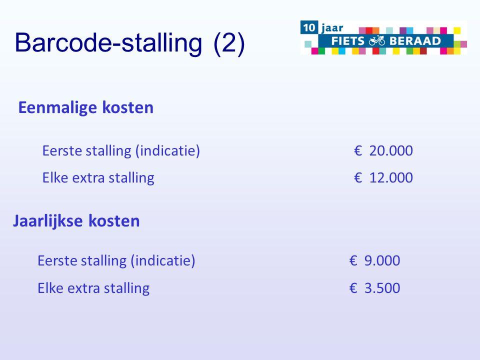 Barcode-stalling (2) Eenmalige kosten Eerste stalling (indicatie)€ 20.000 Elke extra stalling€ 12.000 Jaarlijkse kosten Eerste stalling (indicatie)€ 9
