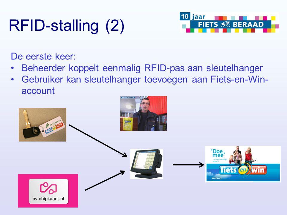 De eerste keer: Beheerder koppelt eenmalig RFID-pas aan sleutelhanger Gebruiker kan sleutelhanger toevoegen aan Fiets-en-Win- account RFID-stalling (2