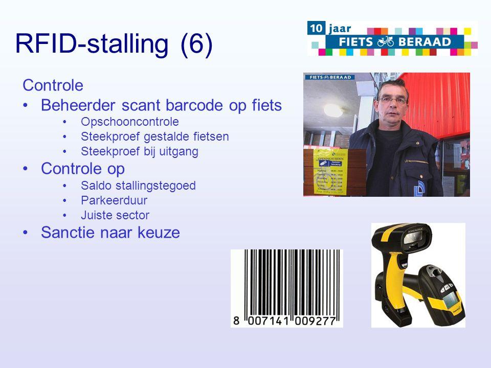 RFID-stalling (6) Controle Beheerder scant barcode op fiets Opschooncontrole Steekproef gestalde fietsen Steekproef bij uitgang Controle op Saldo stal