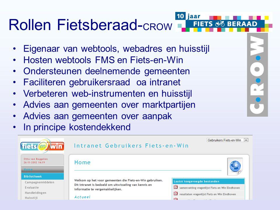 Rollen Fietsberaad- CROW Eigenaar van webtools, webadres en huisstijl Hosten webtools FMS en Fiets-en-Win Ondersteunen deelnemende gemeenten Faciliter