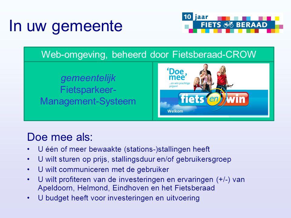 gemeentelijk Fietsparkeer- Management-Systeem Web-omgeving, beheerd door Fietsberaad-CROW Doe mee als: U één of meer bewaakte (stations-)stallingen he