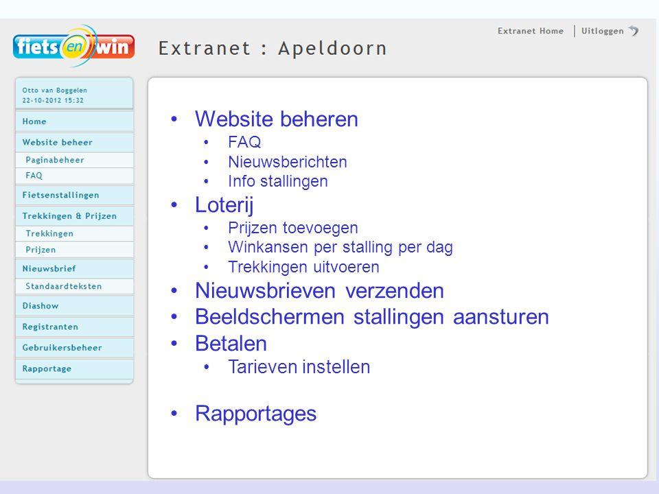 Website beheren FAQ Nieuwsberichten Info stallingen Loterij Prijzen toevoegen Winkansen per stalling per dag Trekkingen uitvoeren Nieuwsbrieven verzen