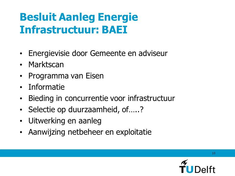 10 Besluit Aanleg Energie Infrastructuur: BAEI Energievisie door Gemeente en adviseur Marktscan Programma van Eisen Informatie Bieding in concurrentie voor infrastructuur Selectie op duurzaamheid, of…...