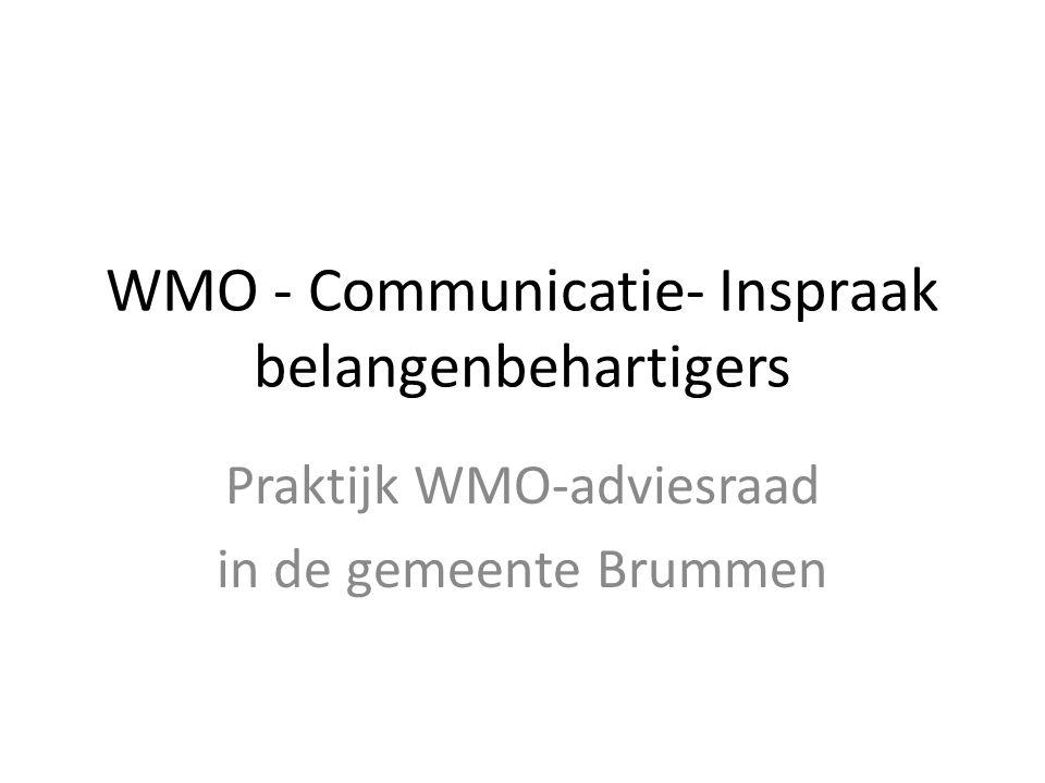 WMO - Communicatie- Inspraak belangenbehartigers Praktijk WMO-adviesraad in de gemeente Brummen