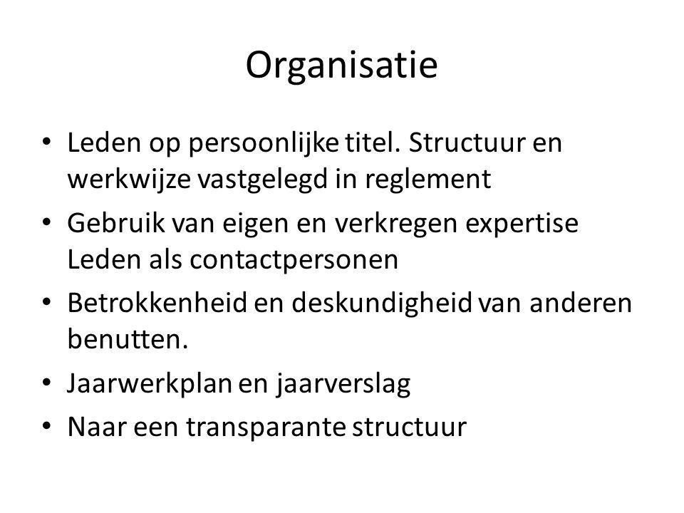 Organisatie Leden op persoonlijke titel.