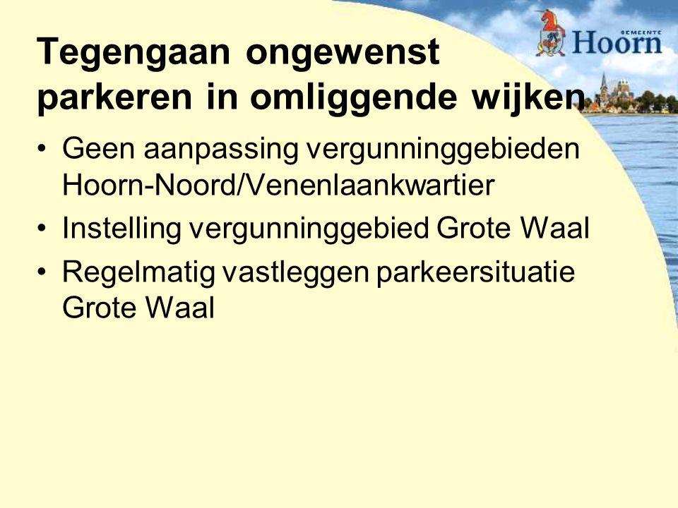 Tegengaan ongewenst parkeren in omliggende wijken Geen aanpassing vergunninggebieden Hoorn-Noord/Venenlaankwartier Instelling vergunninggebied Grote W