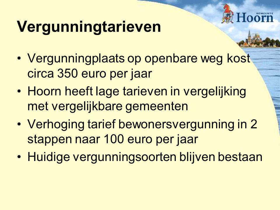 Vergunningtarieven Vergunningplaats op openbare weg kost circa 350 euro per jaar Hoorn heeft lage tarieven in vergelijking met vergelijkbare gemeenten