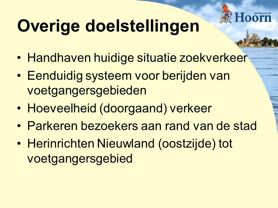 Overige doelstellingen Handhaven huidige situatie zoekverkeer Eenduidig systeem voor berijden van voetgangersgebieden Hoeveelheid (doorgaand) verkeer