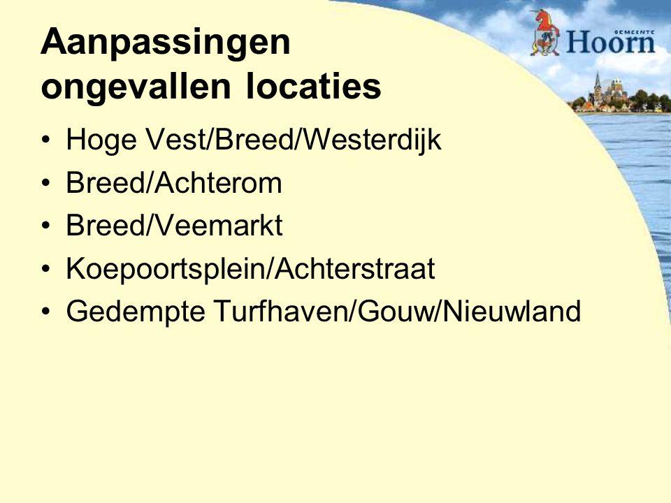 Aanpassingen ongevallen locaties Hoge Vest/Breed/Westerdijk Breed/Achterom Breed/Veemarkt Koepoortsplein/Achterstraat Gedempte Turfhaven/Gouw/Nieuwlan