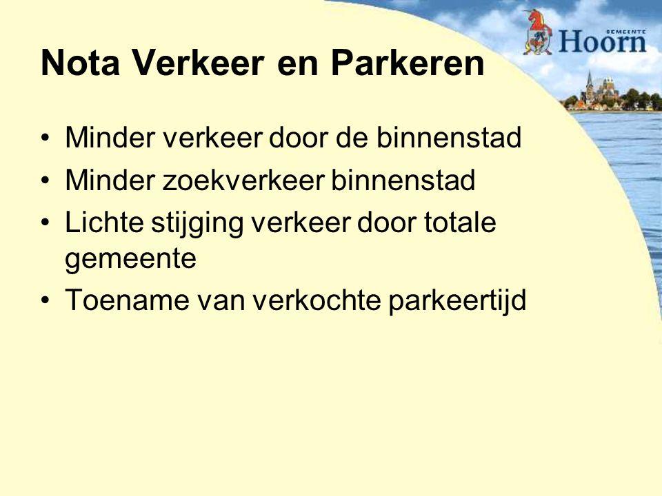 Nota Verkeer en Parkeren Minder verkeer door de binnenstad Minder zoekverkeer binnenstad Lichte stijging verkeer door totale gemeente Toename van verk