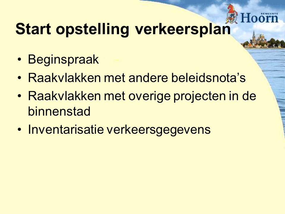 Beginspraak Raakvlakken met andere beleidsnota's Raakvlakken met overige projecten in de binnenstad Inventarisatie verkeersgegevens Start opstelling v