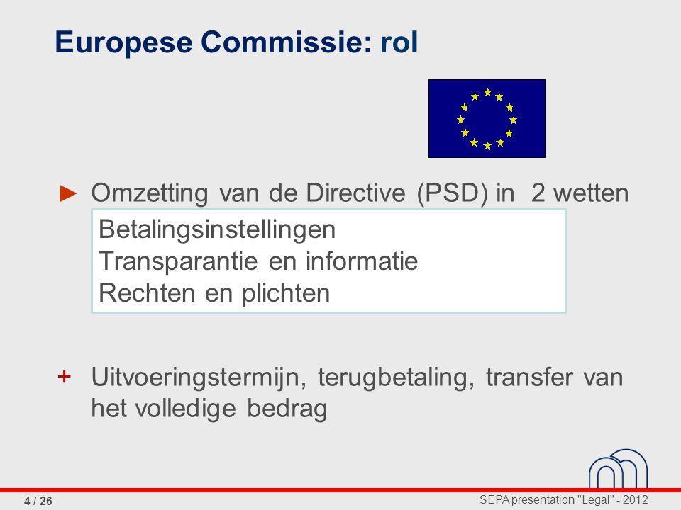 SEPA presentation Legal - 2012 4 / 26 ► Omzetting van de Directive (PSD) in 2 wetten (2009) + Uitvoeringstermijn, terugbetaling, transfer van het volledige bedrag Europese Commissie: rol Betalingsinstellingen Transparantie en informatie Rechten en plichten