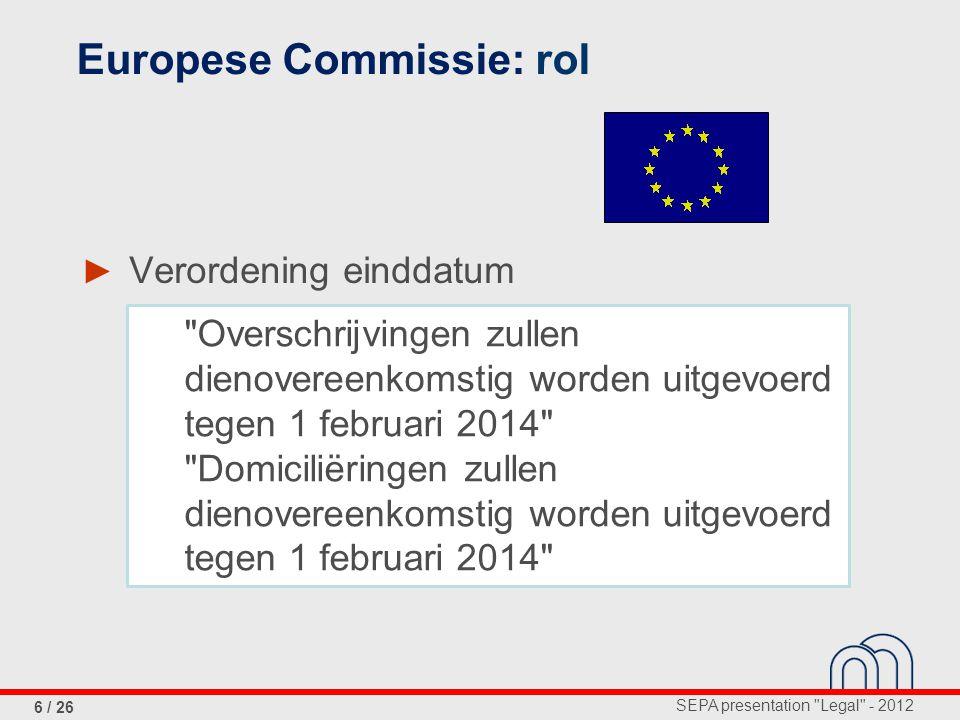 SEPA presentation Legal - 2012 6 / 26 ► Verordening einddatum Europese Commissie: rol Overschrijvingen zullen dienovereenkomstig worden uitgevoerd tegen 1 februari 2014 Domiciliëringen zullen dienovereenkomstig worden uitgevoerd tegen 1 februari 2014