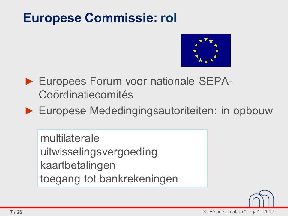 SEPA presentation Legal - 2012 7 / 26 ► Europees Forum voor nationale SEPA- Coördinatiecomités ► Europese Mededingingsautoriteiten: in opbouw Europese Commissie: rol multilaterale uitwisselingsvergoeding kaartbetalingen toegang tot bankrekeningen