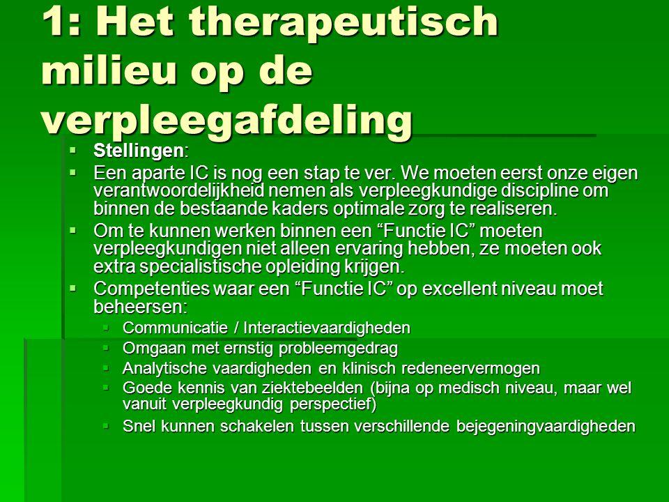 1: Het therapeutisch milieu op de verpleegafdeling  Stellingen:  Een aparte IC is nog een stap te ver. We moeten eerst onze eigen verantwoordelijkhe