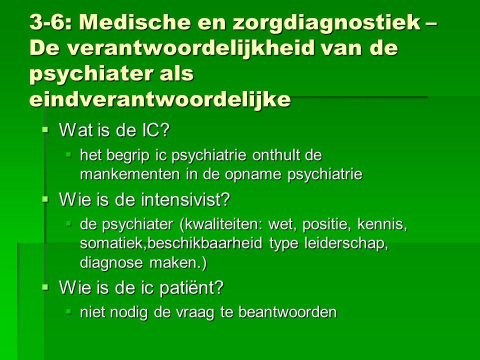 3-6: Medische en zorgdiagnostiek – De verantwoordelijkheid van de psychiater als eindverantwoordelijke  Wat is de IC?  het begrip ic psychiatrie ont