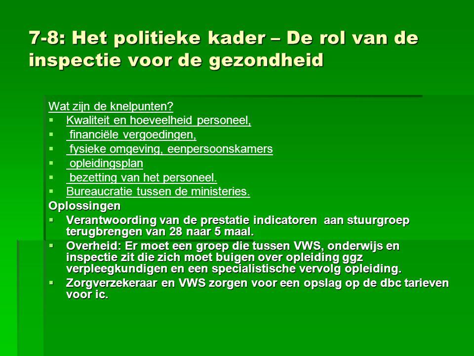 7-8: Het politieke kader – De rol van de inspectie voor de gezondheid Wat zijn de knelpunten?   Kwaliteit en hoeveelheid personeel,   financiële v