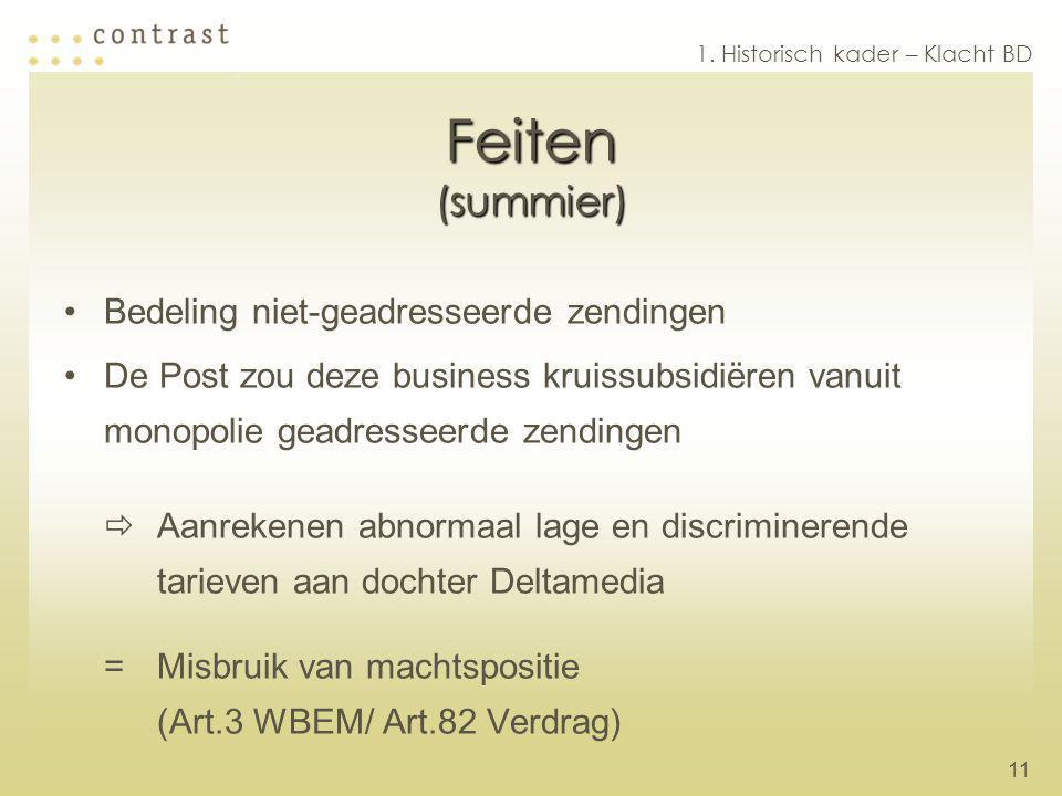 11 Feiten (summier) Bedeling niet-geadresseerde zendingen De Post zou deze business kruissubsidiëren vanuit monopolie geadresseerde zendingen  Aanrek