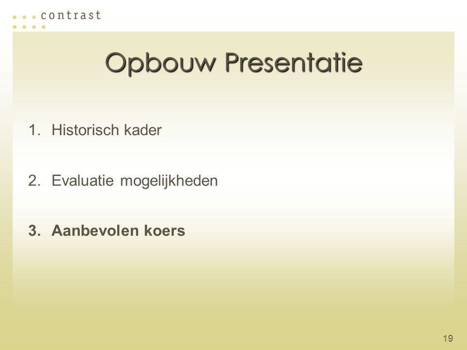19 Opbouw Presentatie 1.Historisch kader 2.Evaluatie mogelijkheden 3.Aanbevolen koers