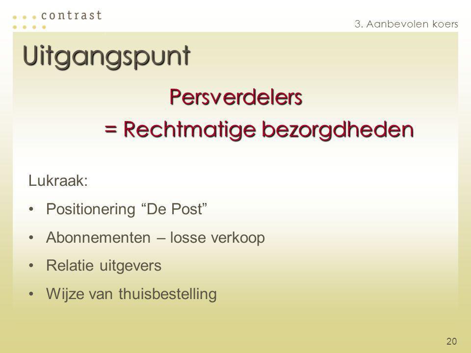 20 Lukraak: Positionering De Post Abonnementen – losse verkoop Relatie uitgevers Wijze van thuisbestelling 3.