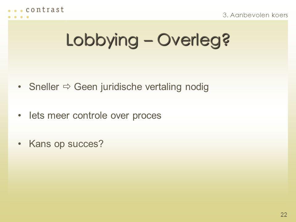 22 Lobbying – Overleg? Sneller  Geen juridische vertaling nodig Iets meer controle over proces Kans op succes? 3. Aanbevolen koers