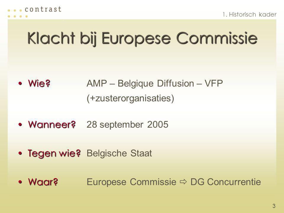 3 Klacht bij Europese Commissie Wie?Wie? AMP – Belgique Diffusion – VFP (+zusterorganisaties) Wanneer?Wanneer? 28 september 2005 Tegen wie?Tegen wie?