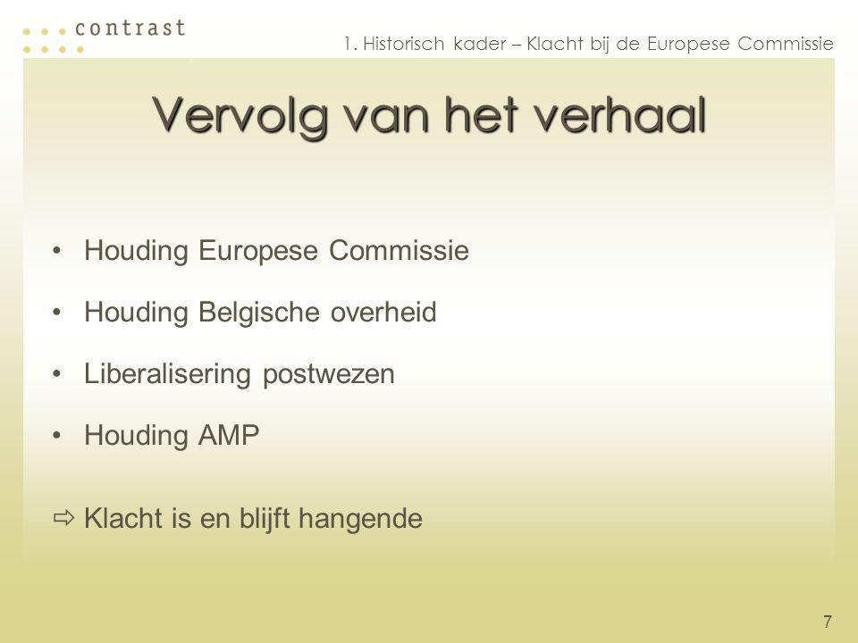 7 Vervolg van het verhaal Houding Europese Commissie Houding Belgische overheid Liberalisering postwezen Houding AMP  Klacht is en blijft hangende 1.
