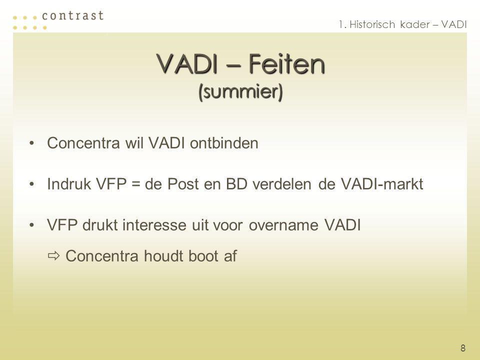 8 VADI – Feiten (summier) Concentra wil VADI ontbinden Indruk VFP = de Post en BD verdelen de VADI-markt VFP drukt interesse uit voor overname VADI  Concentra houdt boot af 1.