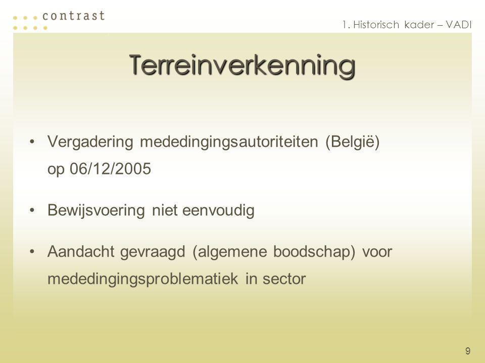 9 Terreinverkenning Vergadering mededingingsautoriteiten (België) op 06/12/2005 Bewijsvoering niet eenvoudig Aandacht gevraagd (algemene boodschap) voor mededingingsproblematiek in sector 1.