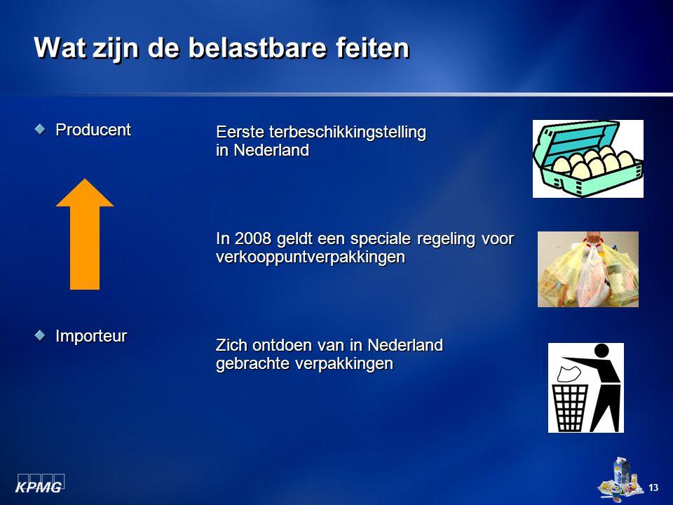 13 Wat zijn de belastbare feiten ProducentImporteur Eerste terbeschikkingstelling in Nederland In 2008 geldt een speciale regeling voor verkooppuntver