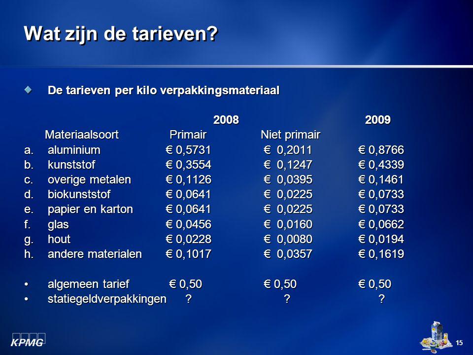 15 Wat zijn de tarieven? De tarieven per kilo verpakkingsmateriaal 2008 2009 Materiaalsoort PrimairNiet primair a.aluminium€ 0,5731 € 0,2011 € 0,8766