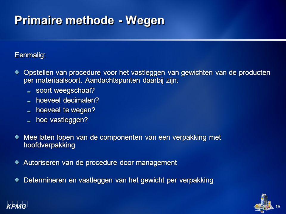 19 Primaire methode - Wegen Eenmalig: Opstellen van procedure voor het vastleggen van gewichten van de producten per materiaalsoort. Aandachtspunten d