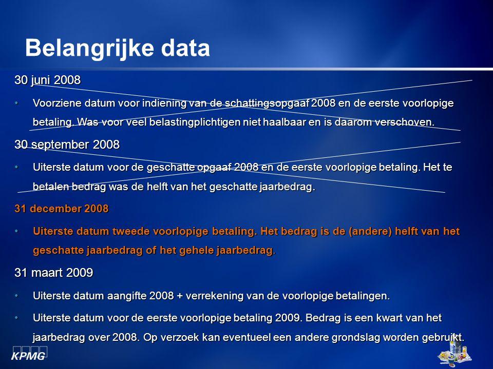 Belangrijke data 30 juni 2008 Voorziene datum voor indiening van de schattingsopgaaf 2008 en de eerste voorlopige betaling. Was voor veel belastingpli