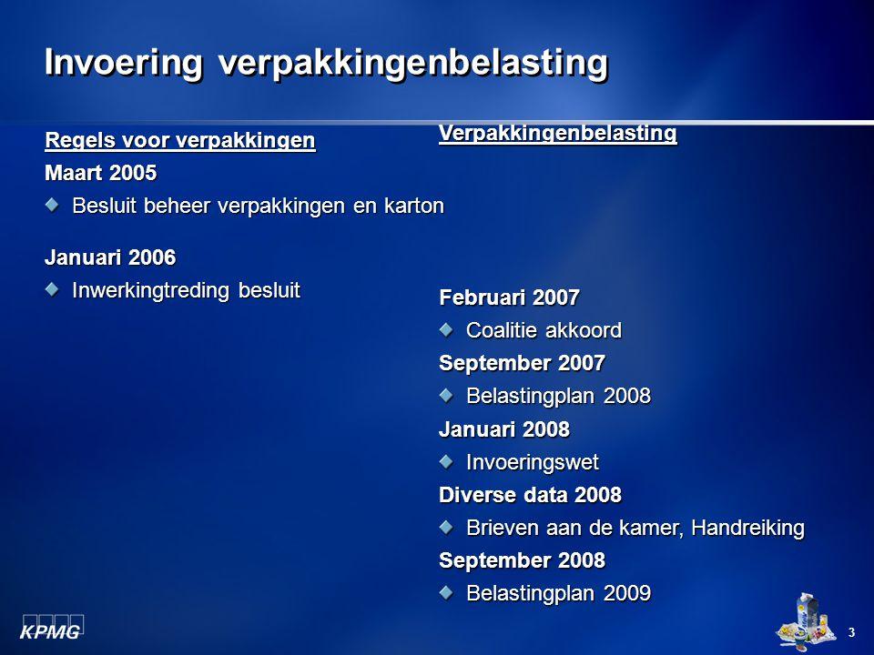 3 Invoering verpakkingenbelasting Regels voor verpakkingen Maart 2005 Besluit beheer verpakkingen en karton Januari 2006 Inwerkingtreding besluit Verp