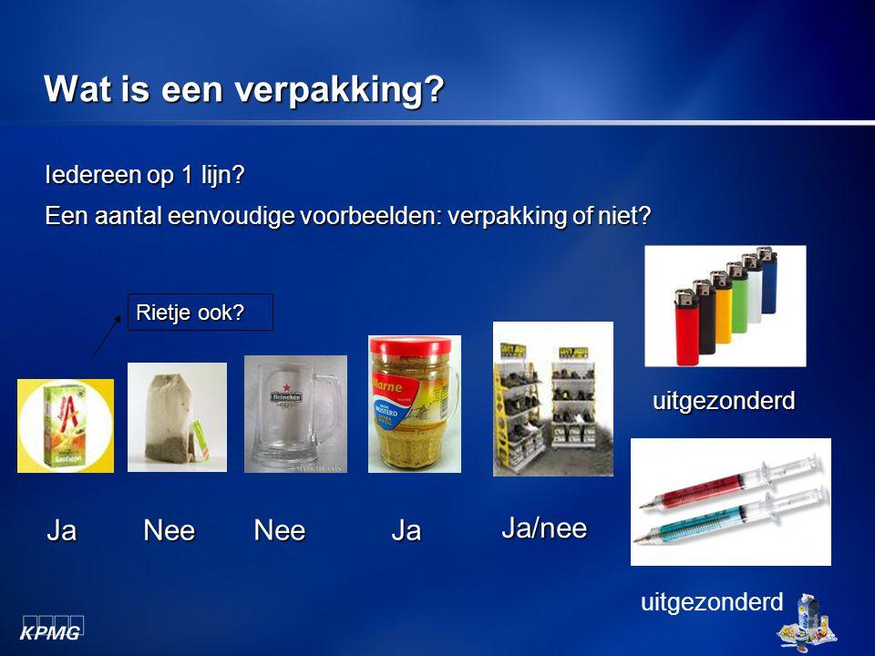 Wat is een verpakking? Iedereen op 1 lijn? Een aantal eenvoudige voorbeelden: verpakking of niet? Rietje ook? JaNee Ja/nee NeeJa uitgezonderd uitgezon