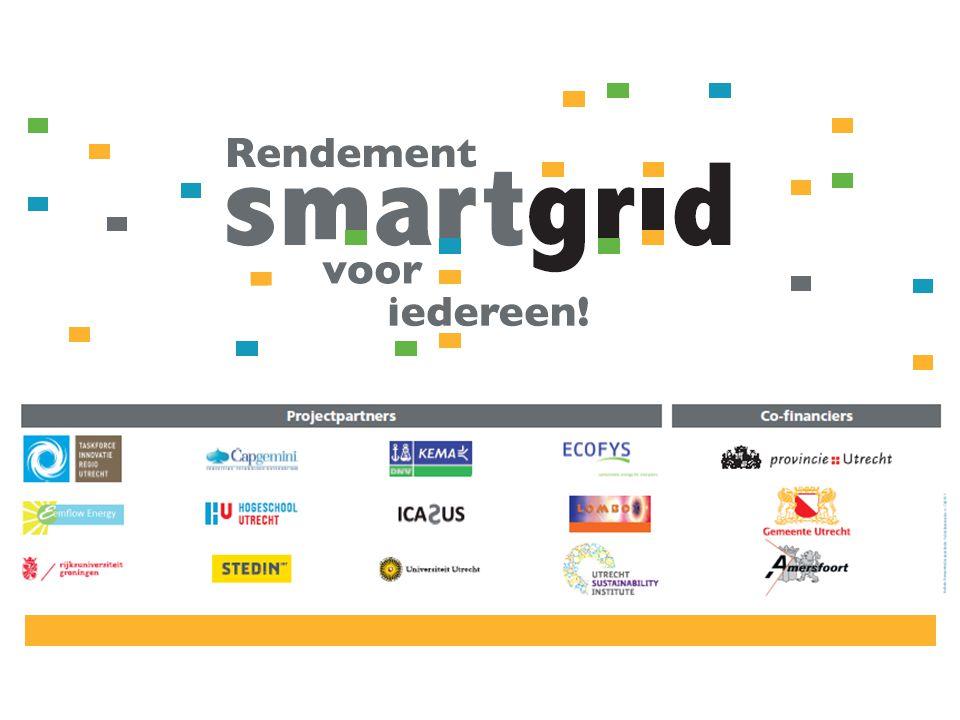 Projectprofiel  Twee smart grids van 100 huishoudens  Amersfoort (Nieuwland) en Utrecht (Lombok)  Succesvolle aanpakken en inzichten worden tijdens looptijd project actief gedeeld  Maximaal rendement voor regionale economie en maatschappij